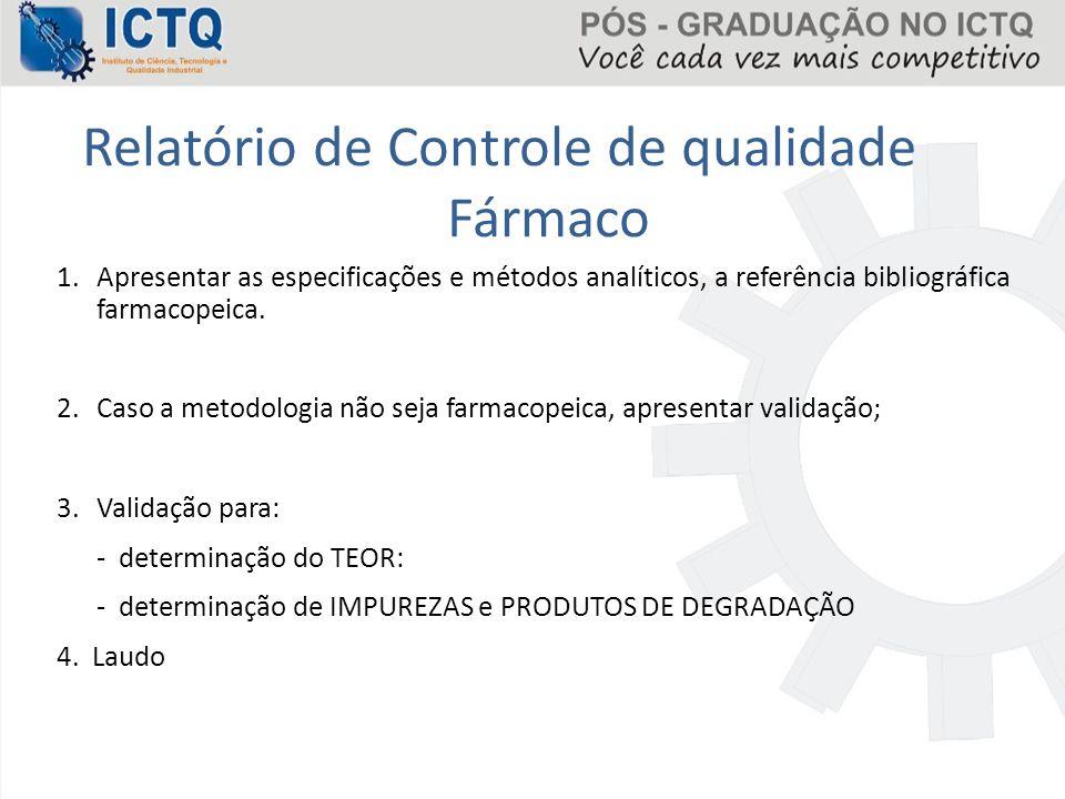 Relatório de Controle de qualidade Fármaco