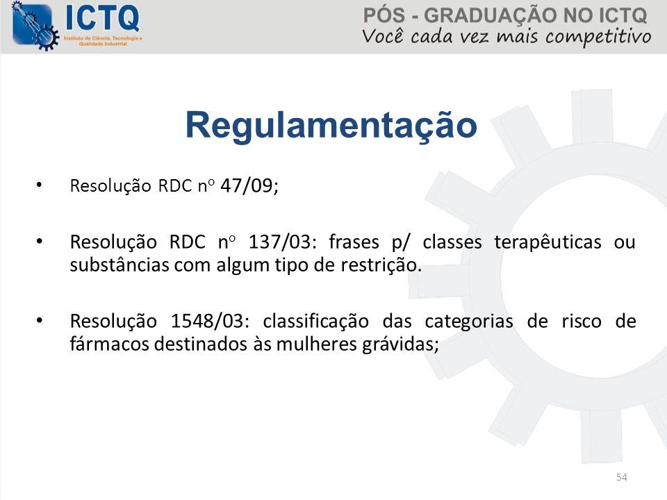 Regulamentação Resolução RDC no 47/09; Resolução RDC no 137/03: frases p/ classes terapêuticas ou substâncias com algum tipo de restrição.