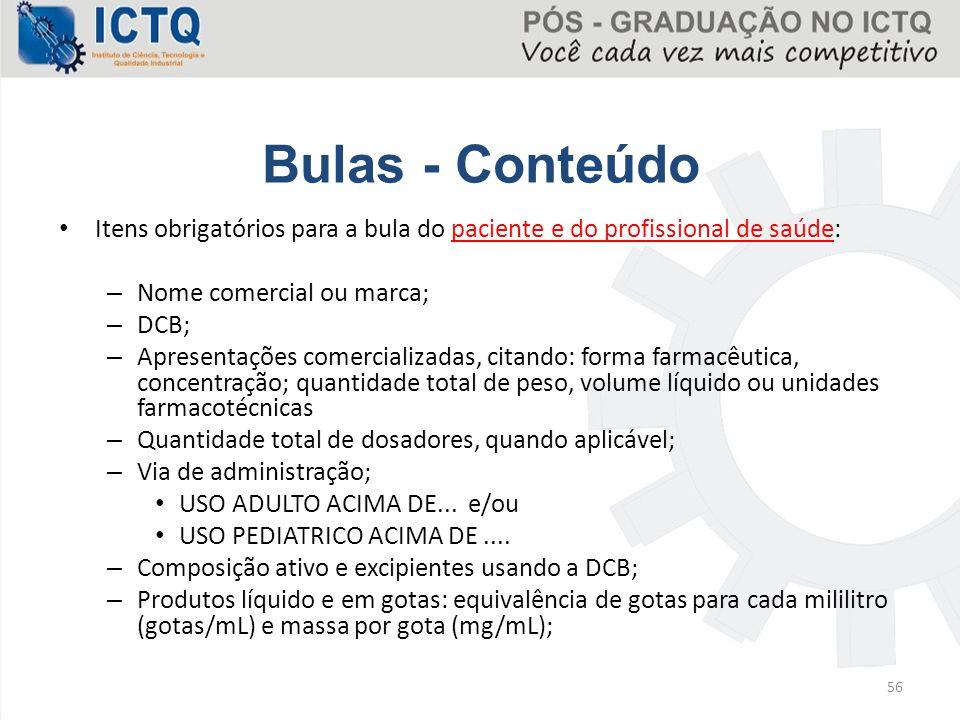 Bulas - Conteúdo Itens obrigatórios para a bula do paciente e do profissional de saúde: Nome comercial ou marca;