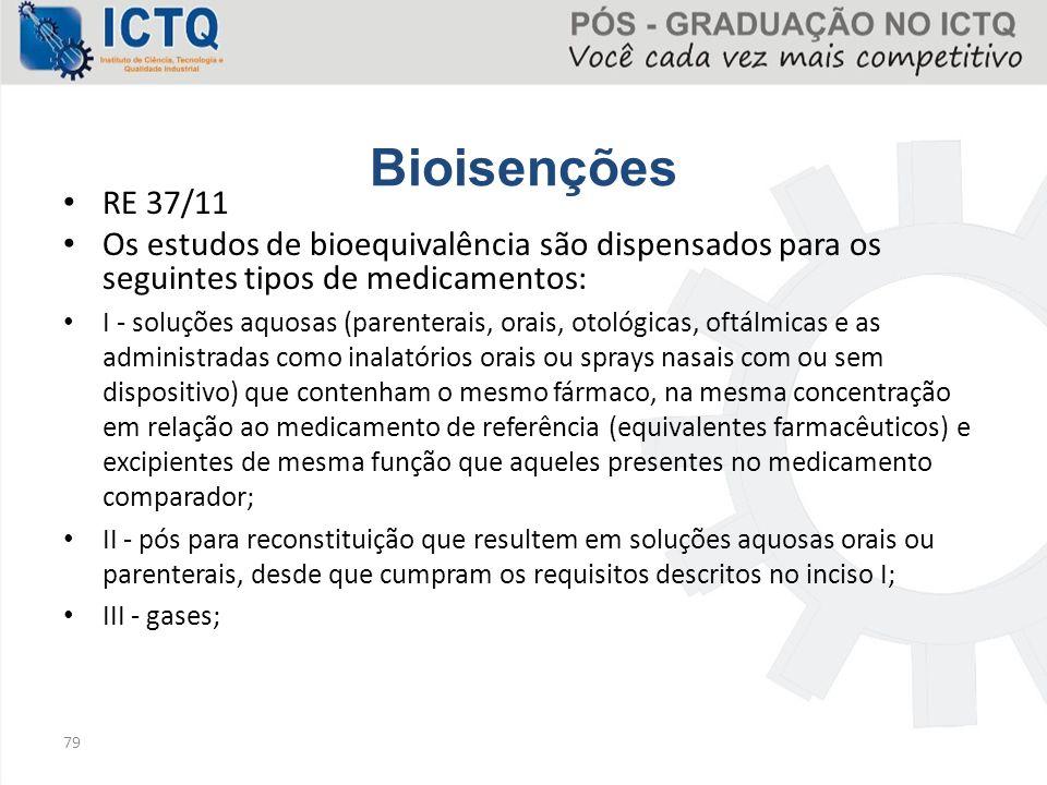 Bioisenções RE 37/11. Os estudos de bioequivalência são dispensados para os seguintes tipos de medicamentos:
