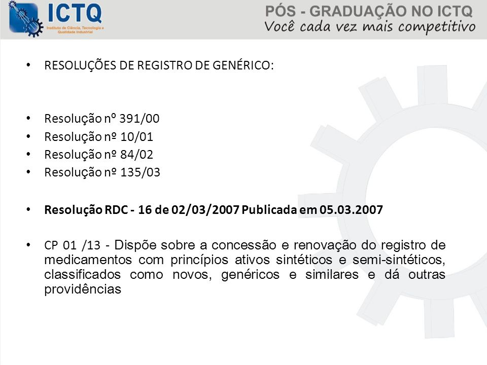 RESOLUÇÕES DE REGISTRO DE GENÉRICO: