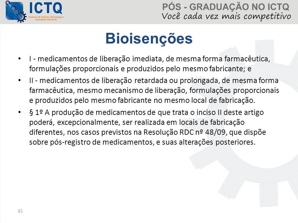 Bioisenções I - medicamentos de liberação imediata, de mesma forma farmacêutica, formulações proporcionais e produzidos pelo mesmo fabricante; e.