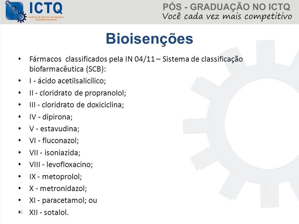 Bioisenções Fármacos classificados pela IN 04/11 – Sistema de classificação biofarmacêutica (SCB):