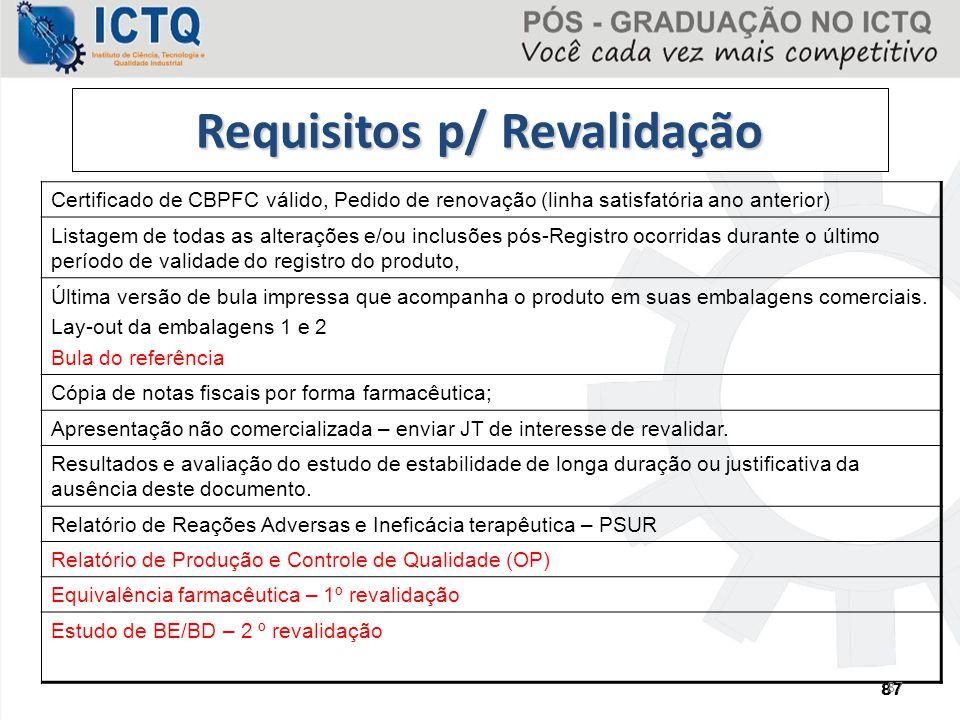 Requisitos p/ Revalidação