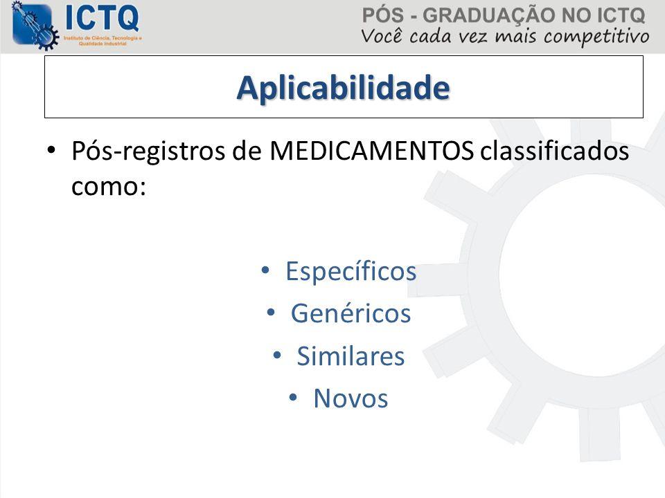 Aplicabilidade Pós-registros de MEDICAMENTOS classificados como: