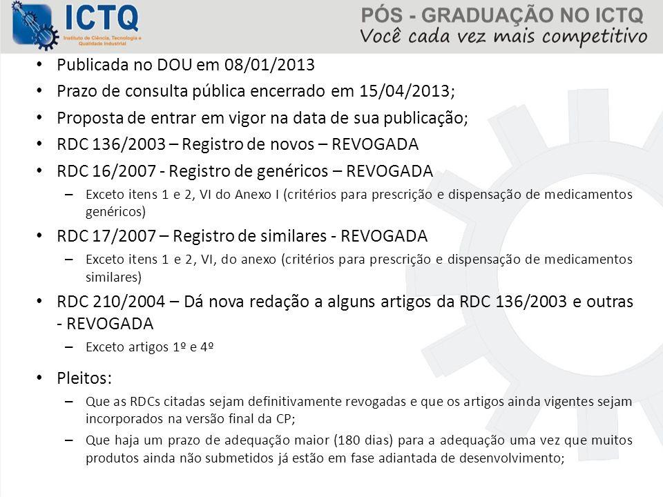 Prazo de consulta pública encerrado em 15/04/2013;
