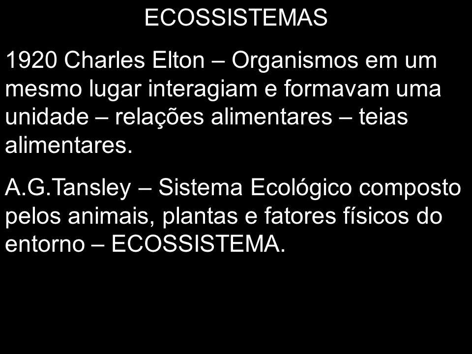 ECOSSISTEMAS 1920 Charles Elton – Organismos em um mesmo lugar interagiam e formavam uma unidade – relações alimentares – teias alimentares.