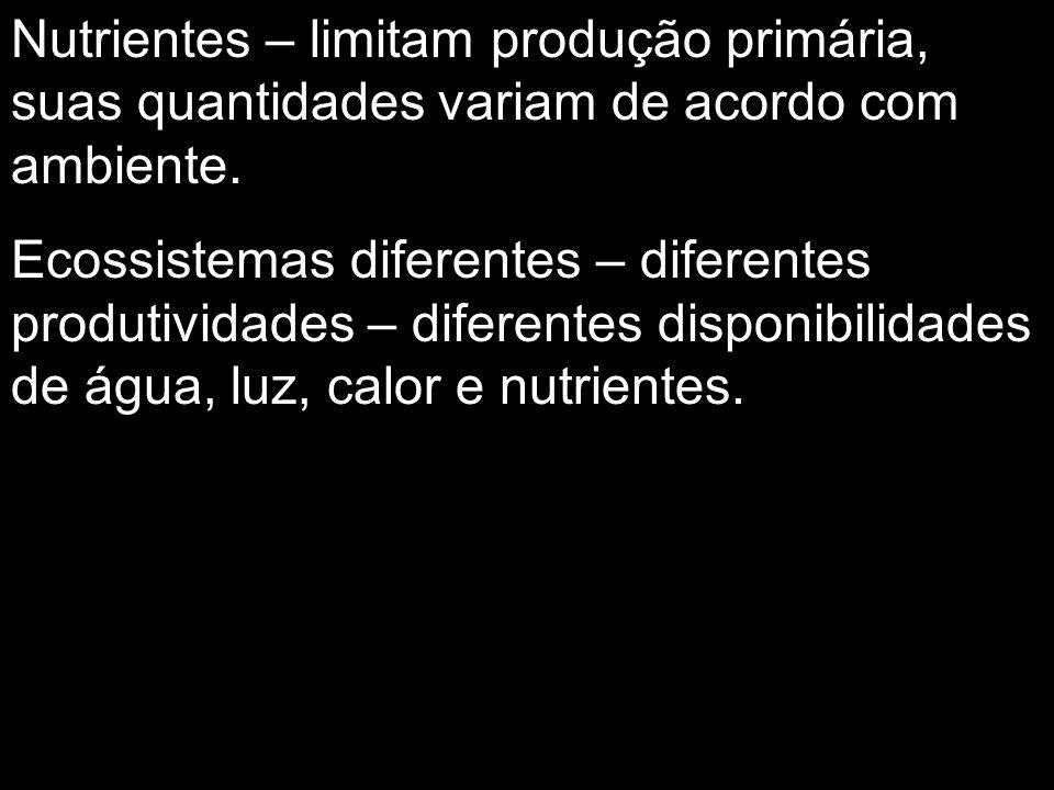 Nutrientes – limitam produção primária, suas quantidades variam de acordo com ambiente.