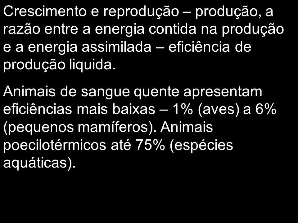 Crescimento e reprodução – produção, a razão entre a energia contida na produção e a energia assimilada – eficiência de produção liquida.
