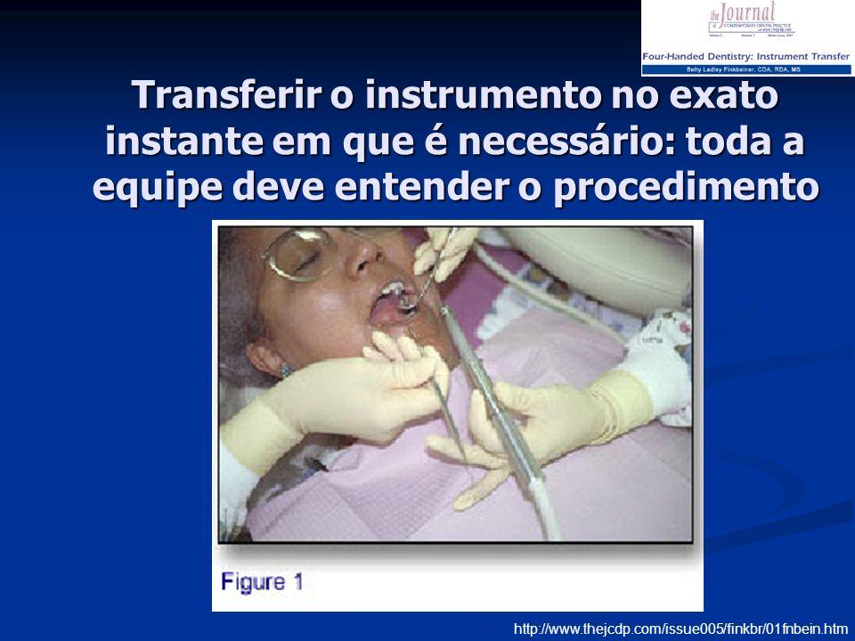 Transferir o instrumento no exato instante em que é necessário: toda a equipe deve entender o procedimento