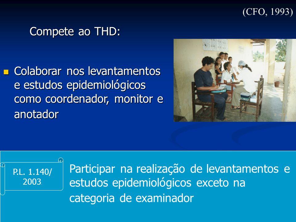 (CFO, 1993) Compete ao THD: Colaborar nos levantamentos e estudos epidemiológicos como coordenador, monitor e anotador.