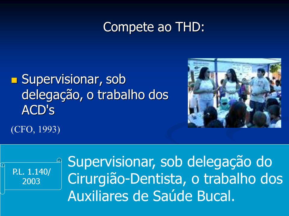 Compete ao THD:Supervisionar, sob delegação, o trabalho dos ACD s. (CFO, 1993)