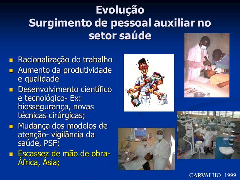 Evolução Surgimento de pessoal auxiliar no setor saúde