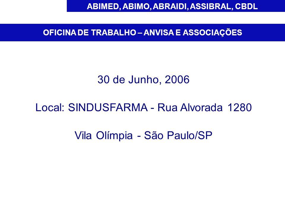 Local: SINDUSFARMA - Rua Alvorada 1280 Vila Olímpia - São Paulo/SP