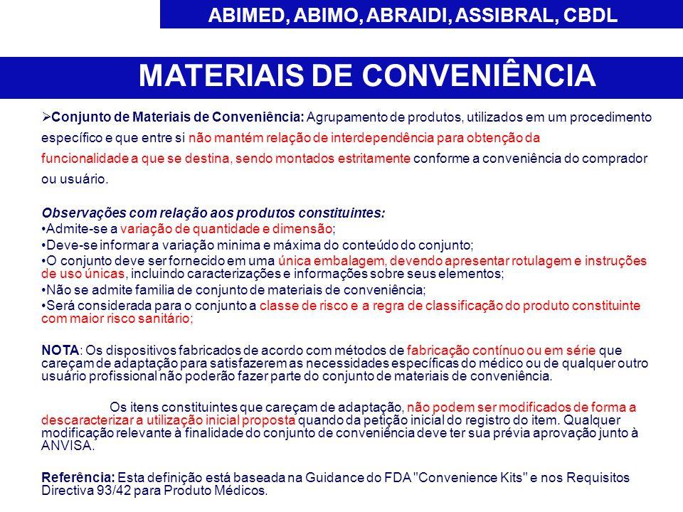 ABIMED, ABIMO, ABRAIDI, ASSIBRAL, CBDL MATERIAIS DE CONVENIÊNCIA