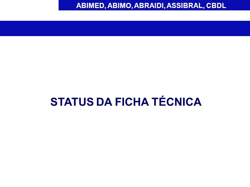 ABIMED, ABIMO, ABRAIDI, ASSIBRAL, CBDL STATUS DA FICHA TÉCNICA