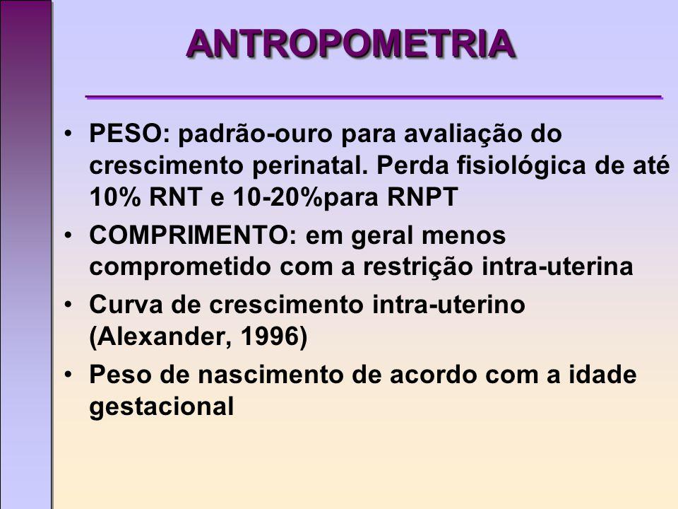 ANTROPOMETRIA PESO: padrão-ouro para avaliação do crescimento perinatal. Perda fisiológica de até 10% RNT e 10-20%para RNPT.