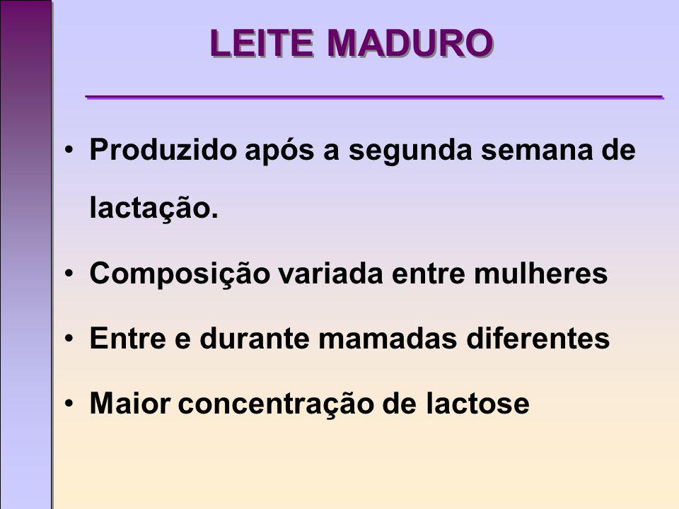 LEITE MADURO Produzido após a segunda semana de lactação.