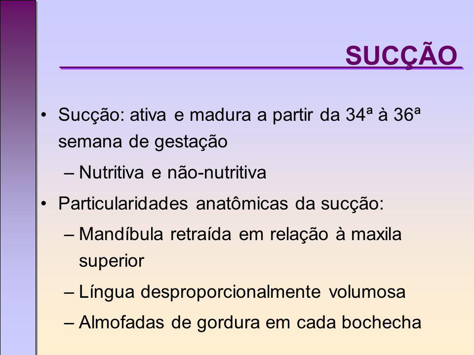 SUCÇÃO Sucção: ativa e madura a partir da 34ª à 36ª semana de gestação