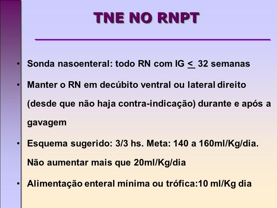TNE NO RNPT Sonda nasoenteral: todo RN com IG < 32 semanas