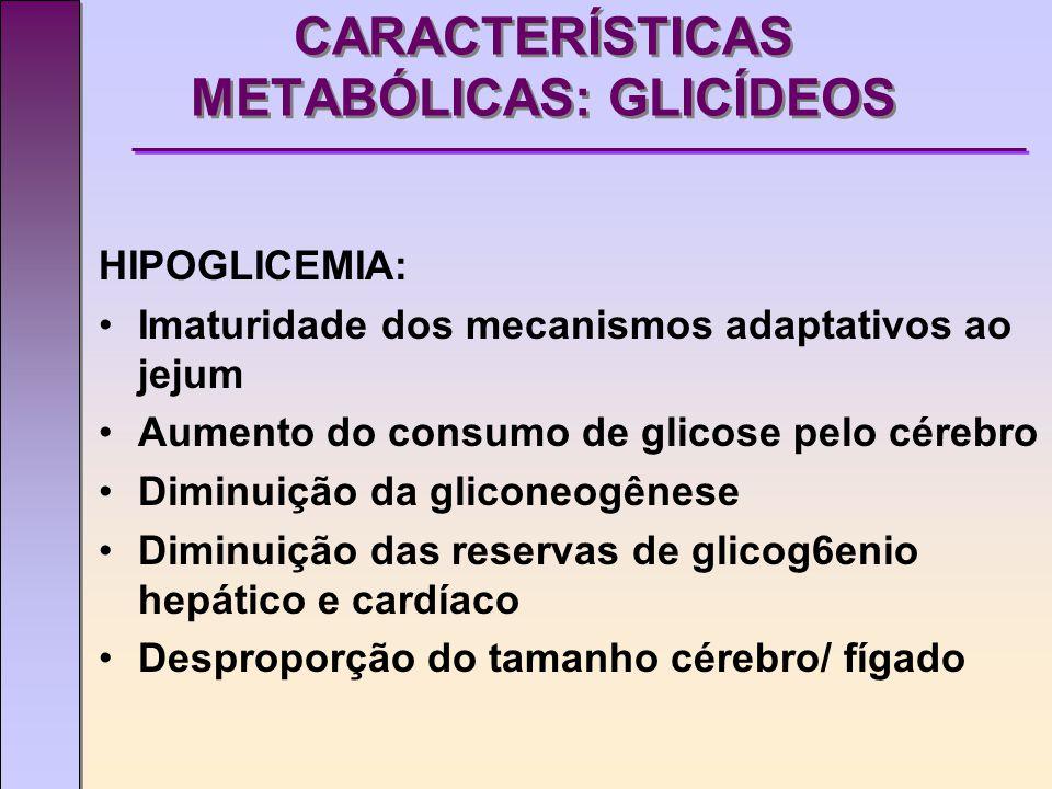 CARACTERÍSTICAS METABÓLICAS: GLICÍDEOS