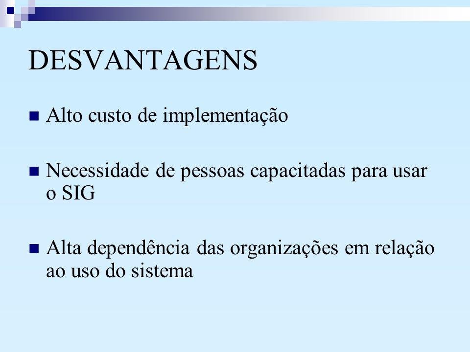 DESVANTAGENS Alto custo de implementação