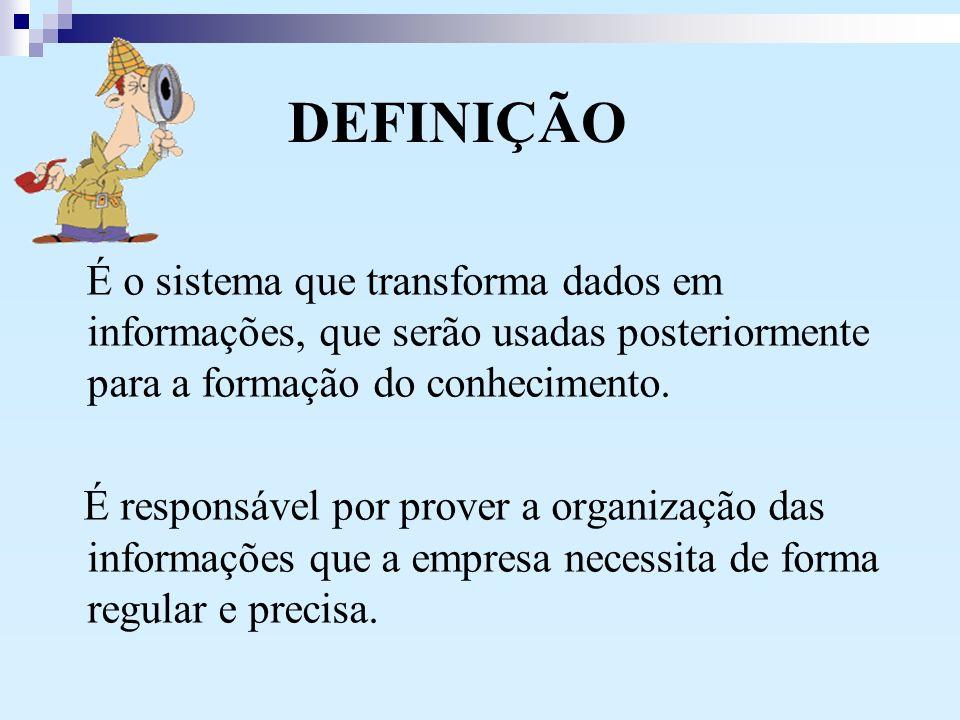 DEFINIÇÃO É o sistema que transforma dados em informações, que serão usadas posteriormente para a formação do conhecimento.