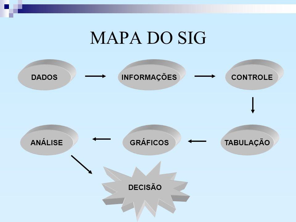 MAPA DO SIG DADOS INFORMAÇÕES CONTROLE ANÁLISE GRÁFICOS TABULAÇÃO