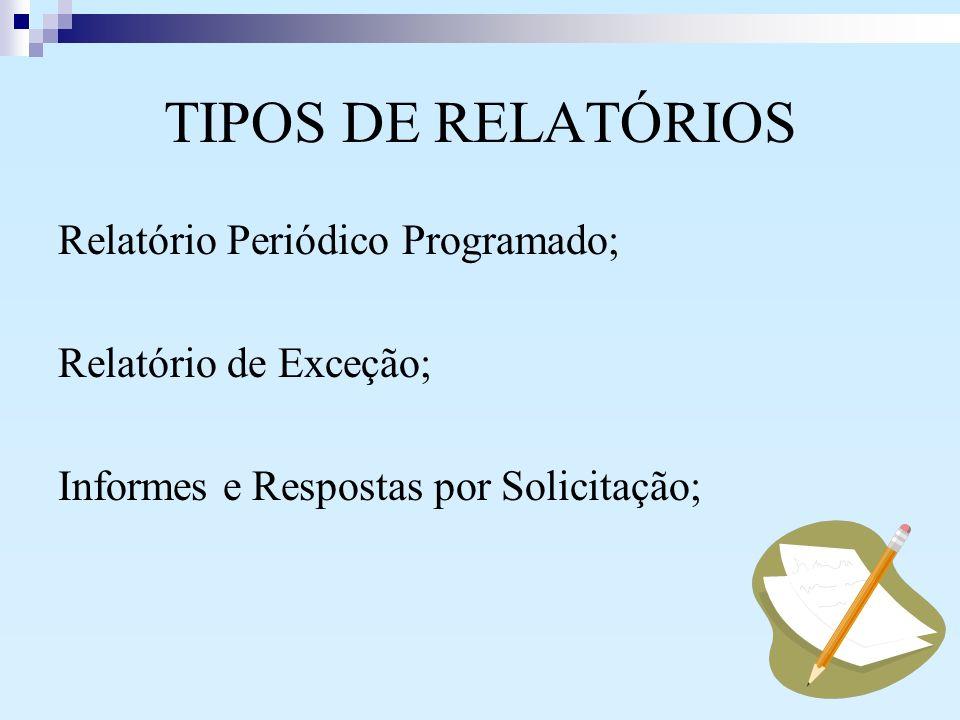 TIPOS DE RELATÓRIOS Relatório Periódico Programado;