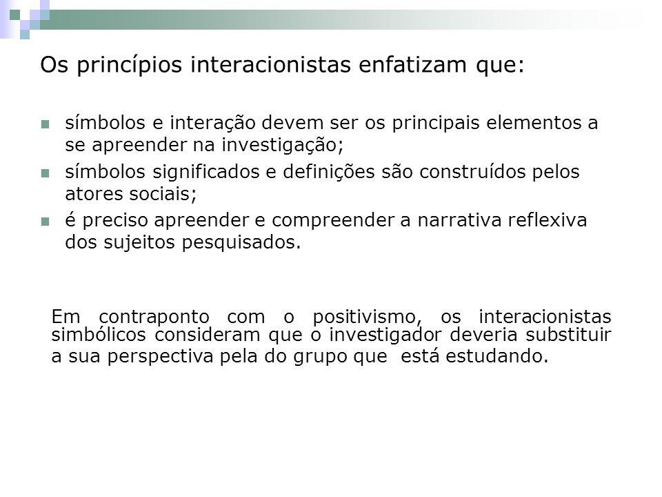 Os princípios interacionistas enfatizam que: