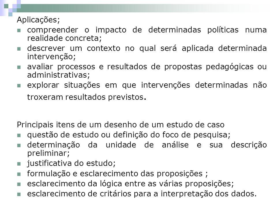 Aplicações; compreender o impacto de determinadas políticas numa realidade concreta;