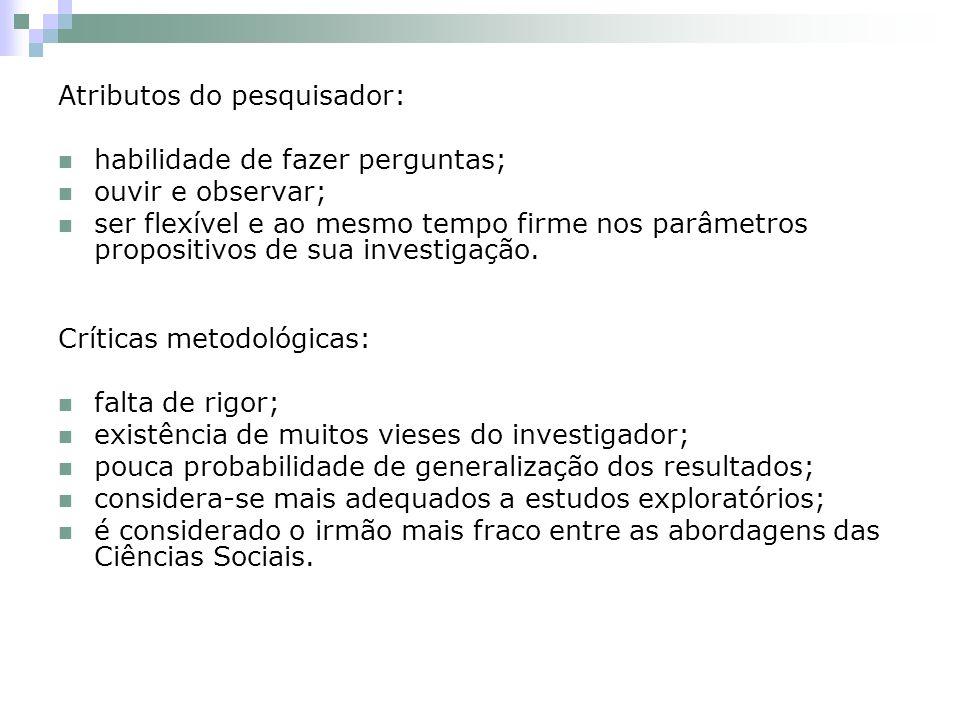 Atributos do pesquisador: