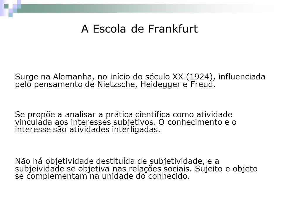 A Escola de Frankfurt Surge na Alemanha, no início do século XX (1924), influenciada pelo pensamento de Nietzsche, Heidegger e Freud.