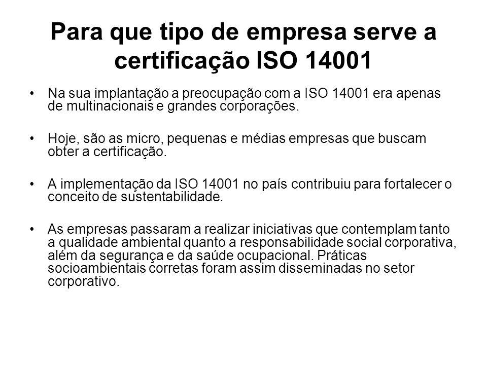 Para que tipo de empresa serve a certificação ISO 14001