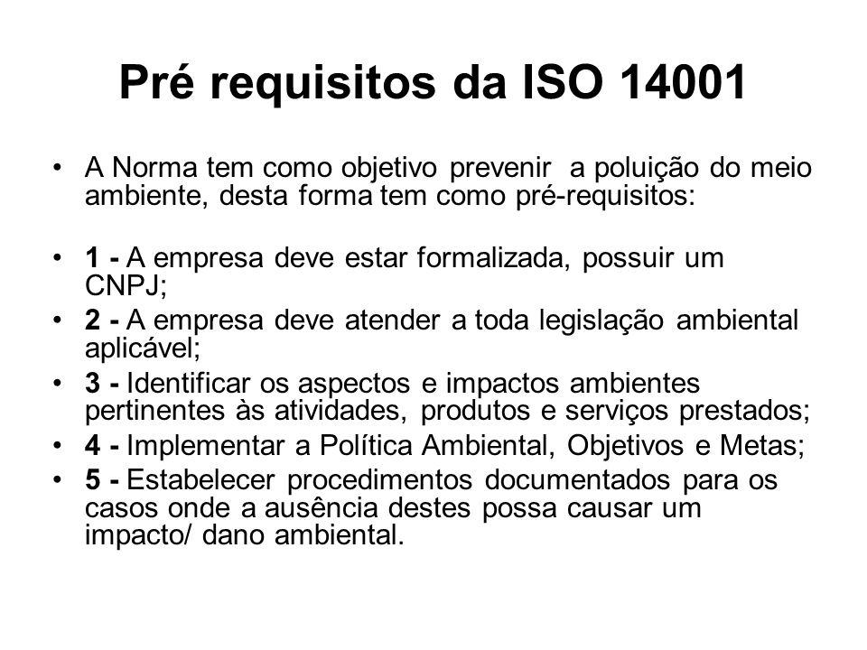 Pré requisitos da ISO 14001 A Norma tem como objetivo prevenir a poluição do meio ambiente, desta forma tem como pré-requisitos: