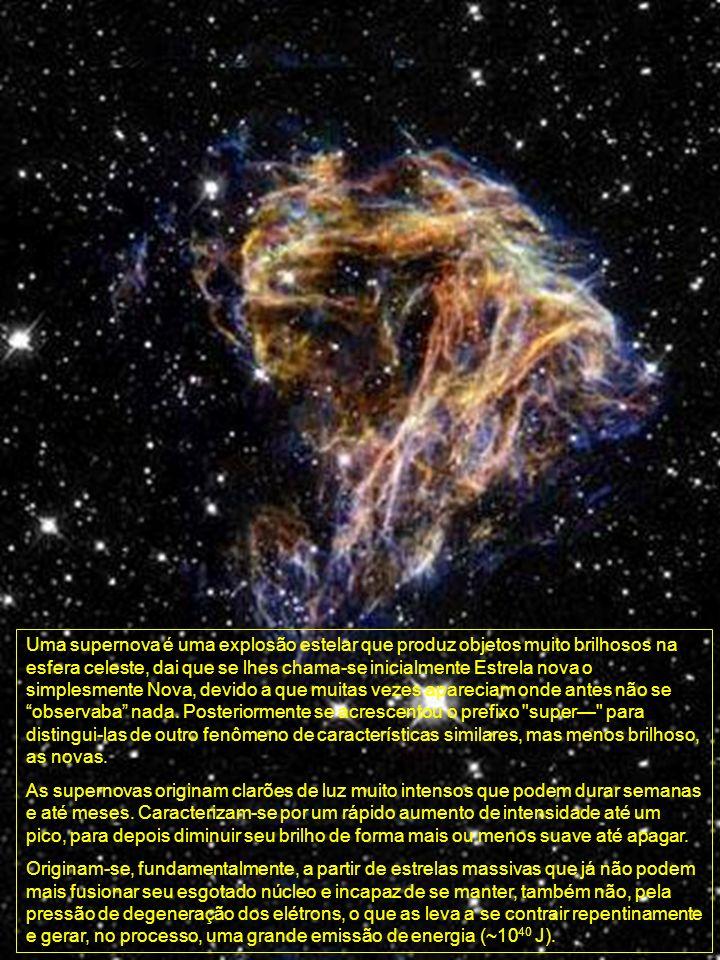 Uma supernova é uma explosão estelar que produz objetos muito brilhosos na esfera celeste, dai que se lhes chama-se inicialmente Estrela nova o simplesmente Nova, devido a que muitas vezes apareciam onde antes não se observaba nada. Posteriormente se acrescentou o prefixo super— para distingui-las de outro fenômeno de características similares, mas menos brilhoso, as novas.