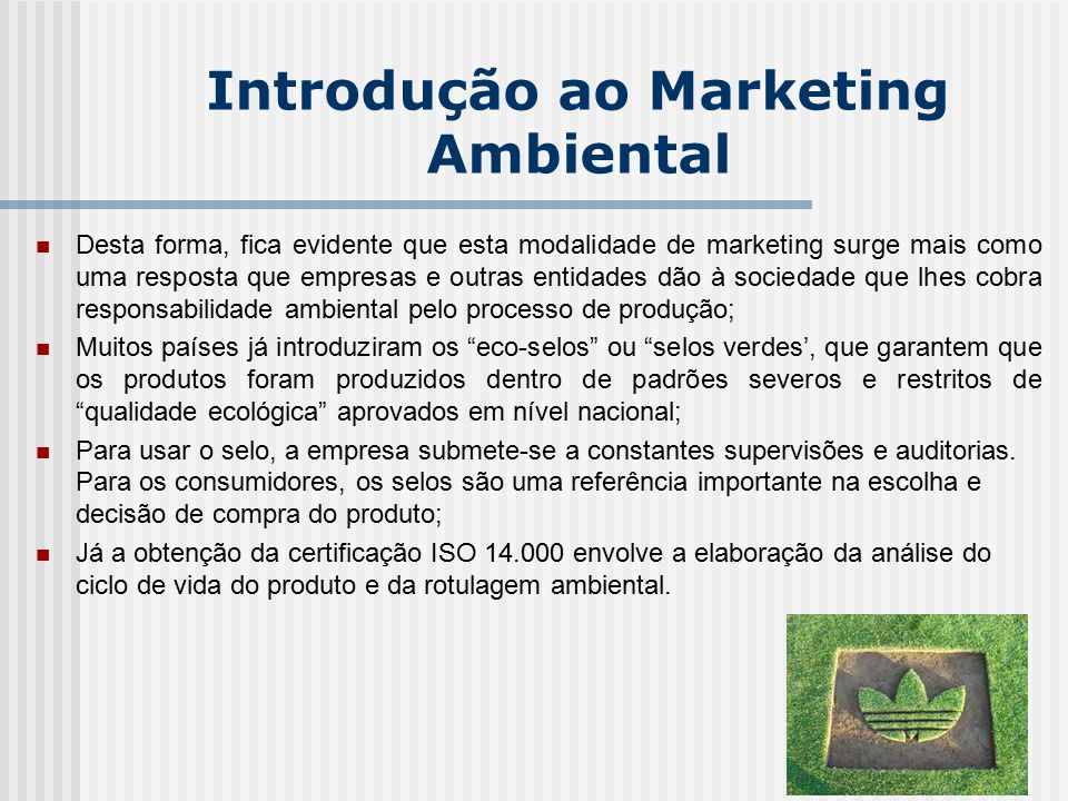 Introdução ao Marketing Ambiental