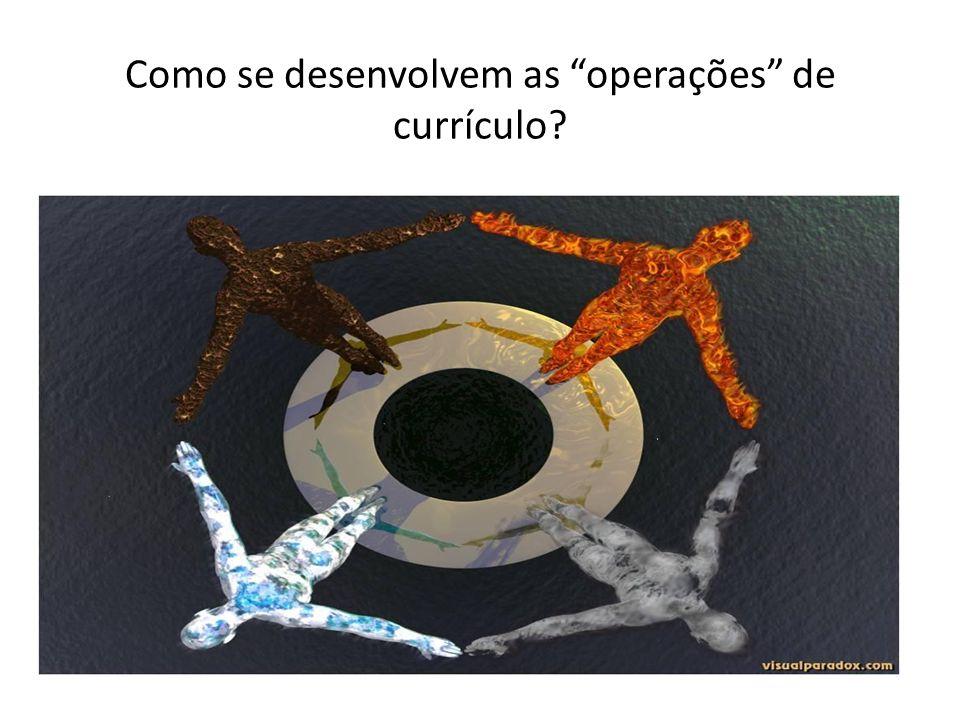 Como se desenvolvem as operações de currículo