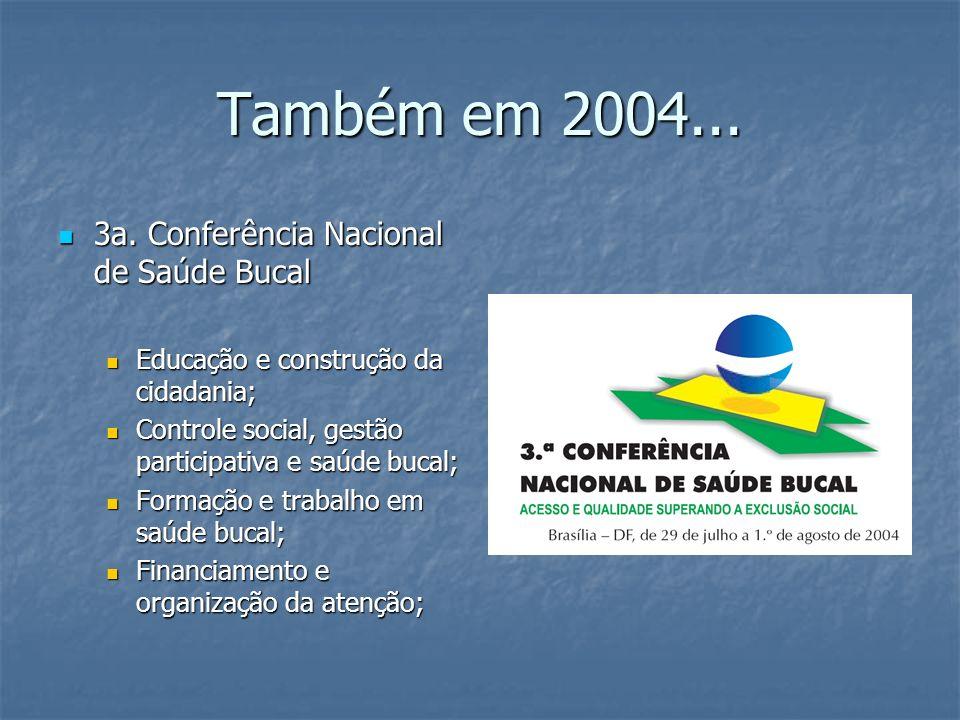 Também em 2004... 3a. Conferência Nacional de Saúde Bucal