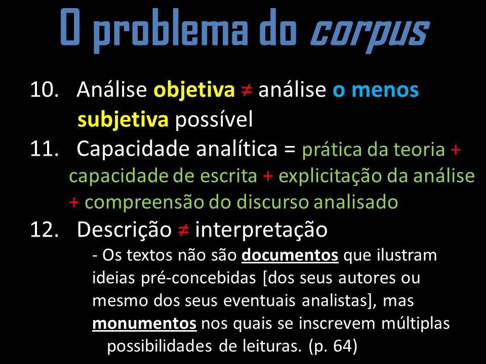 O problema do corpus 10. Análise objetiva ≠ análise o menos subjetiva possível.