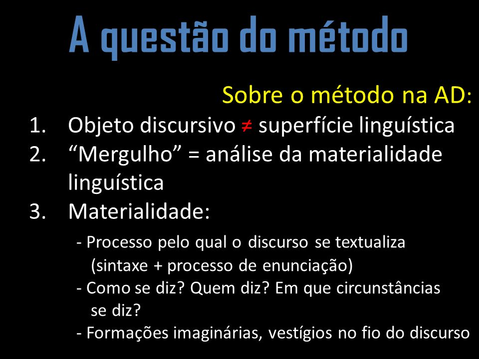 A questão do método Sobre o método na AD:
