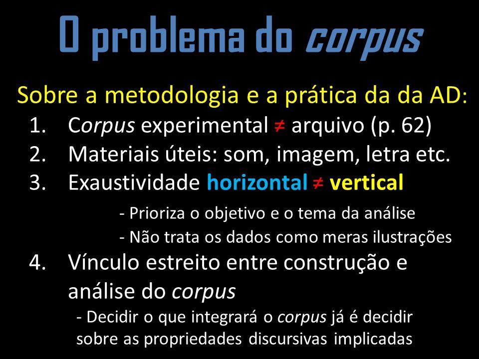 O problema do corpus Sobre a metodologia e a prática da da AD: