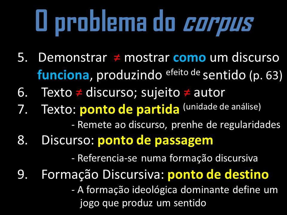 O problema do corpus 5. Demonstrar ≠ mostrar como um discurso funciona, produzindo efeito de sentido (p. 63)