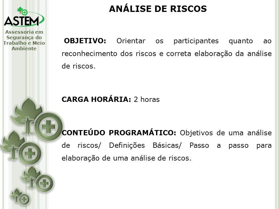 ANÁLISE DE RISCOS OBJETIVO: Orientar os participantes quanto ao reconhecimento dos riscos e correta elaboração da análise de riscos.