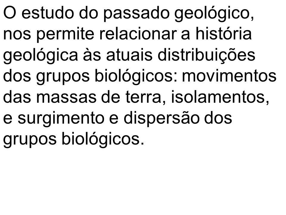 O estudo do passado geológico, nos permite relacionar a história geológica às atuais distribuições dos grupos biológicos: movimentos das massas de terra, isolamentos, e surgimento e dispersão dos grupos biológicos.