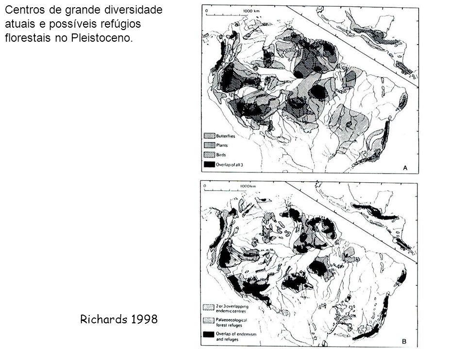 Centros de grande diversidade atuais e possíveis refúgios florestais no Pleistoceno.