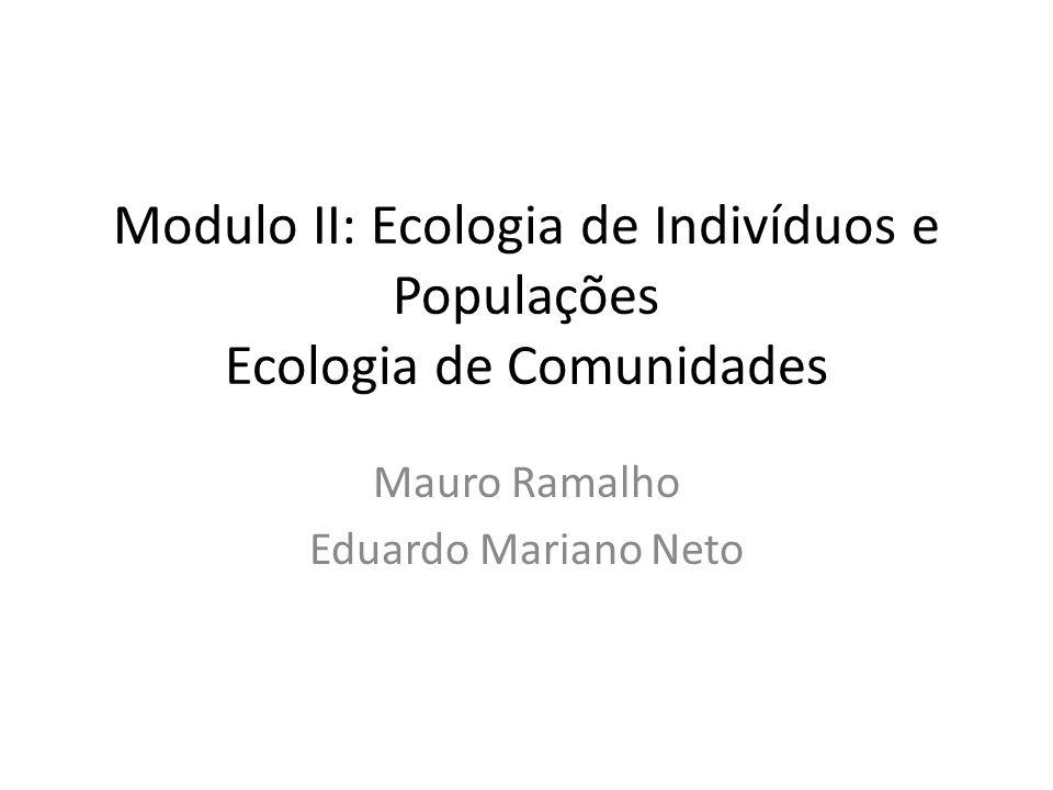 Modulo II: Ecologia de Indivíduos e Populações Ecologia de Comunidades