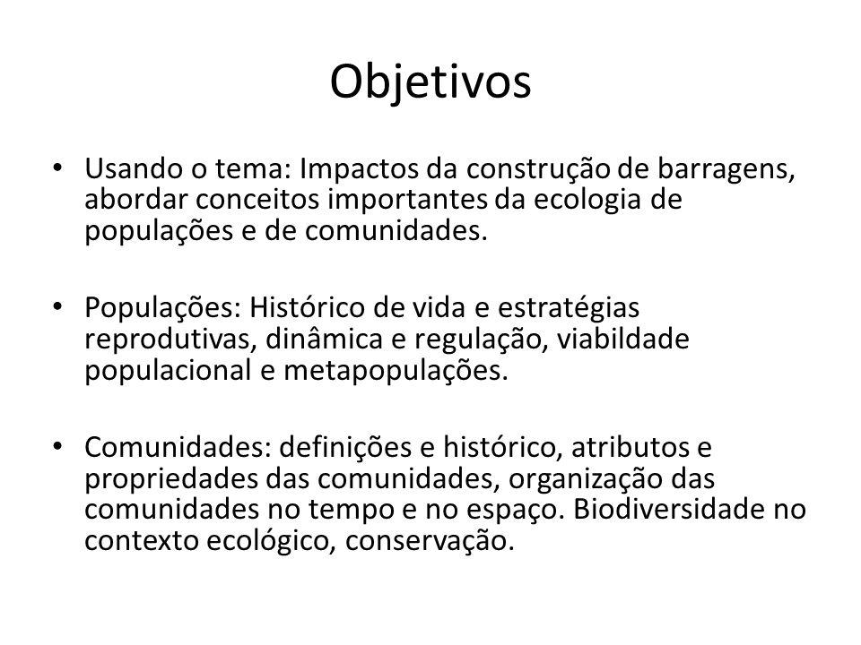 ObjetivosUsando o tema: Impactos da construção de barragens, abordar conceitos importantes da ecologia de populações e de comunidades.