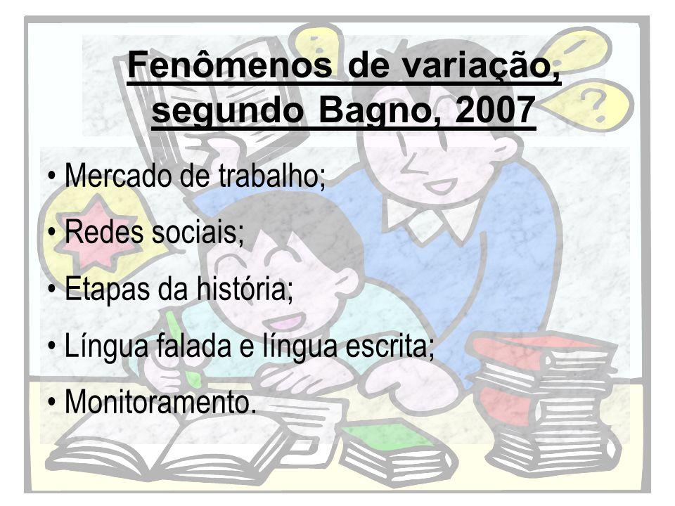 Fenômenos de variação, segundo Bagno, 2007