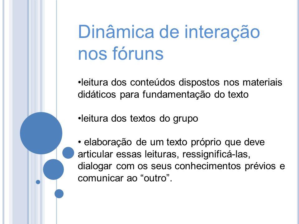 Dinâmica de interação nos fóruns